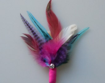 Cat Toy Bright Pink Feather Flier with Catnip and Bell