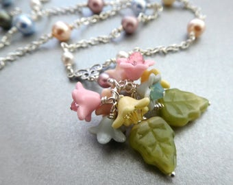 Floral necklace - pastel color bouquet tiny lucite flower dangles with crystal hung on pearl chain bright silver, Spring bead jewelry