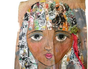 Mixed Media Art, Girl Portrait, Altered Collage Art, Original Collage, Abstract Collage, Modern Art, Modern Girl Art, Whimsical Girl,