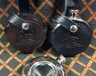 5 oz stainless steel flask with handmade leather belt holder celtic irish pirate