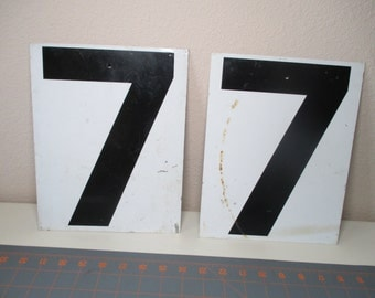 Vintage Number 7 and Number 8 Metal Gas Station Sign - Double Sided