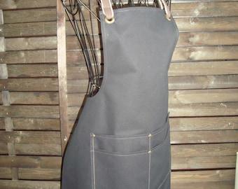 Water repellent black 11 oz canvas rustic apron, Shop Apron, artist's apron, crafter's apron, workshop apron, cooking apron, waxed apron