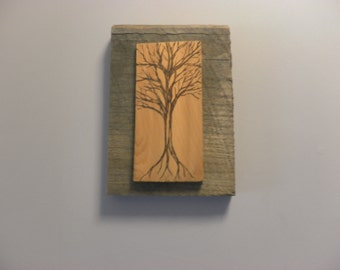 Small portrait of a tree on cedar, wood burning on grey beach weathered backer frame ready to ship