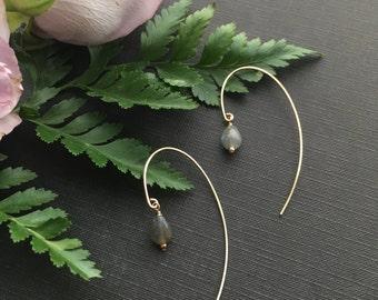 Labradorite Earrings, Labradorite Jewelry, Gemstone Drop Earrings, Minimal Earrings, Modern Gold Earrings, Gold Dangle Hoop