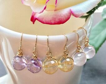 Gold Citrine Earrings, Citrine Jewelry, Gold Filled Earrings, Yellow Drop Earrings, Birthstone Earrings, Yellow Crystal Earrings