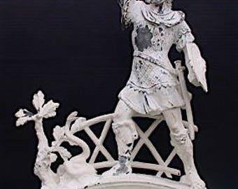 Antique Spelter Sculpture Statue, Roman Warrior Fighting Serpent, HUGE