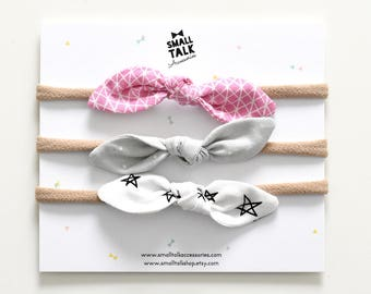 Top Knot Baby Headband Set of 3  -  Newborn Top Knot Headbands  -  Nude Nylon Headbands