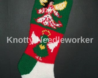 PDF Instructions+Chart  2 in 1 ANGELS from ABOVE Hand Knitted Christmas Stocking Pattern