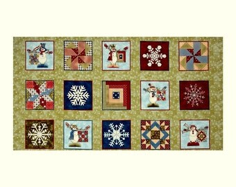My Precious Quilt Snowman 24x44 panel premium cotton fabric by Leanne Anderson for Henry Glass & Co