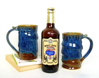 Beer Mug, Beer Stein, Tankard, Tall Blue Coffee Mug, Blue Pottery, Handmade Wheel Thrown by RiverStone Pottery