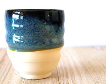 Yunomi, Tea Bowl, Japanese, Teacup, Sake Cup, Juice Cup,  Black and Blue Glaze, Raw White Clay