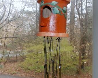 Orange Wind Chime Birdhouse Hand Painted--Decorative Windchime-Goldtone Chimes-(0025)