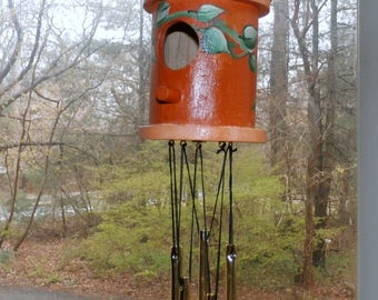 Wind Chime Birdhouse Hand Painted--Decorative Windchime-Goldtone Chimes