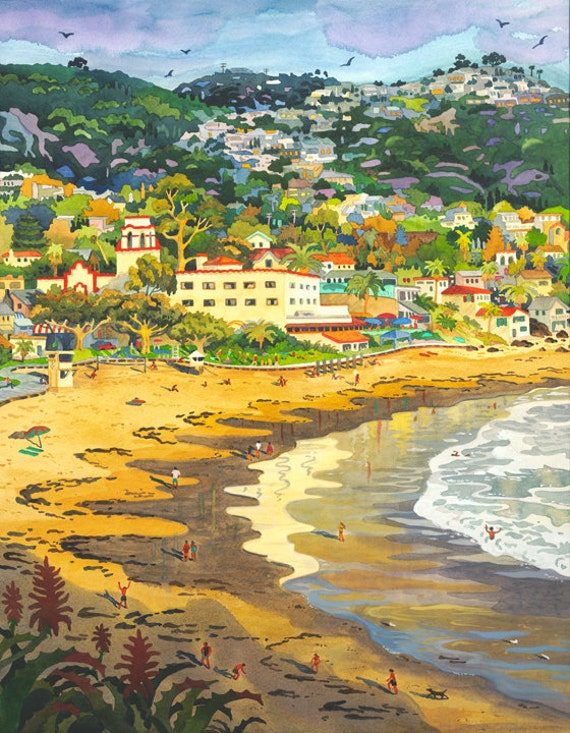 Painting of Laguna Beach,  Main Beach in Laguna, Hotel Laguna, Seascape of Laguna