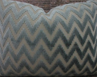 Designer Pillow Cover - Lumbar, 16 x 16, 18 x18, 20 x 20, 22 x 22, Euro - Lilly Velvet Zig Zag - Aqua Light Blue