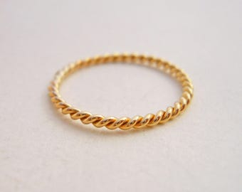 Mini Stacking Twist 14k Yellow Gold Filled
