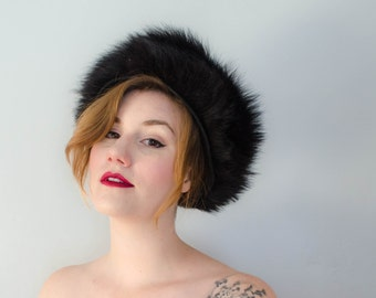 1960s vintage hat / black fox fur and wool hat / Haya Rochel