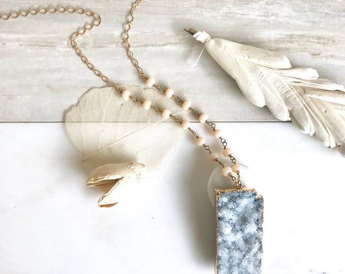 Long Rectangle Blue Druzy Necklace. Blue Druzy Necklace with Beaded Chain. Unique Jewelry Gift for Her. Jewelry Gift. Druzy Quartz. Boho.