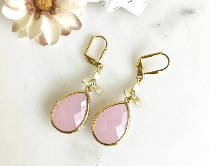 SALE - Pink Teardrop and Gold Cubic Zirconia Flower Dangle Earrings. Pink Bridesmaid Earrings. Drop Earrings. Gold Fashion Earrings. Bridal.