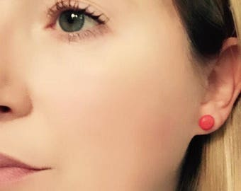 Red studs, red earrings, red stud earrings, clay earrings, red clay earrings, colourful earrings, fun earrings, statement earrings
