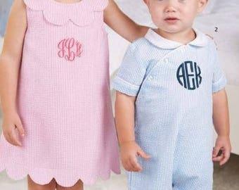 Girls Pink Seersucker Dress - Scalloped Collar and Hemline -Monogrammed/Personalized  Mud Pie