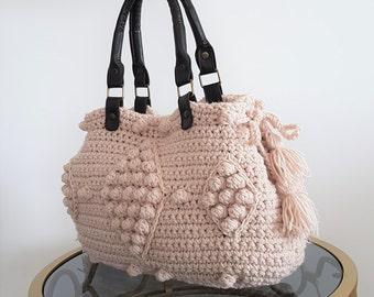 Beige Handbag Leather Tote Bag Shoulder Bag  Women Bag Leather Tote Fashion Women Accessory Handmade Bag Christmas gift Crochet Bag