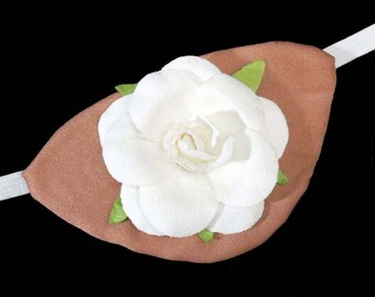Tan Eye Patch Natural Rose White Steampunk Fantasy Fashion Wedding Bride
