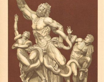 1894 Statue of Laocoön and His Sons or Laocoön Group Original Antique Chromolithograph