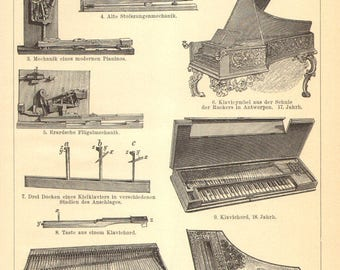 1896 Original Antique Engraving of Musical Instruments - Keyboard Instruments