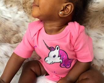 Unicorn on Pink Baby Organic Cotton Bodysuit Perfect baby shower Gift, unicorn love