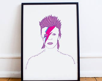 David Bowie Poster | Ziggy Stardust Art | Glam Rock | Minimalistic Art |Portrait