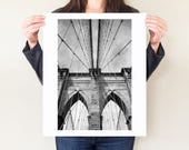 Brooklyn Bridge black and white photograph, New York City photography, NYC architecture fine art print, monochrome NY large format artwork
