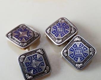 Art Deco Edwardian era 14k gold with blue enemal VTG cufflinks
