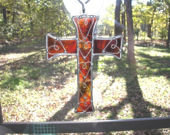 LT Stained Glass, red ornage, Cross sun catcher, light catcher, with hand formed wire heart overlays, my hand made in the USA, unique gift