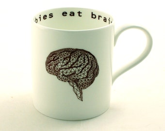 Zombies Eat Brains Large Geometrical Fine Bone China Tea or Coffee Mug Funny Fun Zombie Anatomy Anatomical Geekery Whimsical