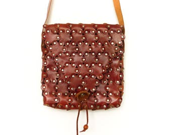 Vintage Brown Leather Purse Bag Messenger Crossbody Shoulder Bag / Chestnut Brown Reddish / Patchwork Metal Studs / Hippie Boho Festival