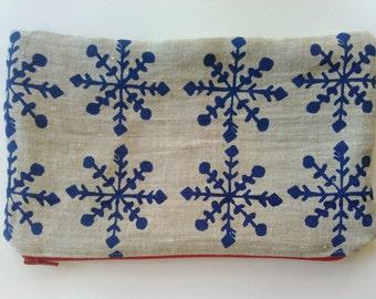 Zipper Pouch, Hand printed, Snowflake, Linen Pouch, Natural Linen, Zipper Bag