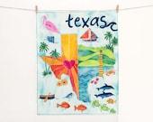 Original Artwork - Texas Art Print - Whimsical Map