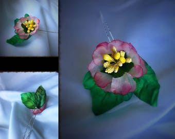 Hand made silk flower hair pin