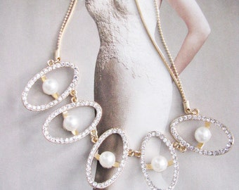 Sparkle Statement Wedding Necklace in Gold tone Great Bridal Wedding Pageant Jewelry