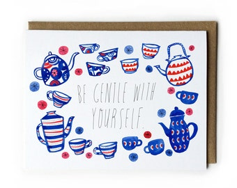 Encouragement Greeting Card, Words of Encouragement, Watercolor Greeting Card, Vintage Teapots & Teacups, A2, 4.25 x 5.5, Blue, Red, Pink