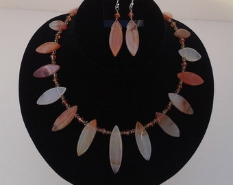 Orange Multi-Color Marquise Shaped graduated Agate Necklace & Earring Set