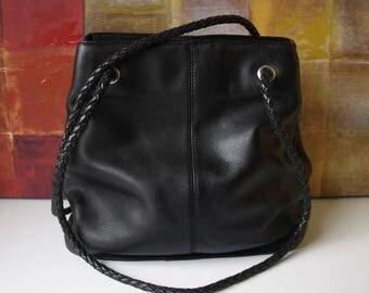 FOSSIL Handbag Black Leather Shoulder Hobo Tote Handbag