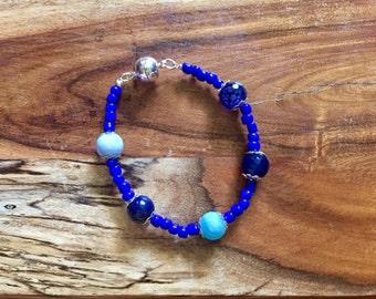 Samantha Bracelet in Beautiful Blue. lapis lazuli gemstone stones semi precious natural stone jewelry boho bohemian jewellery beaded gypsy