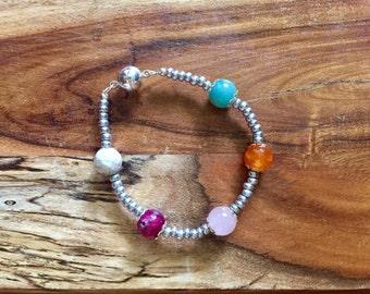 SALE Samantha Bracelet in Candy and Silver Gemstone jewelry semiprecious stones boho bohemian jewellery beaded rose quartz howlite amazonite