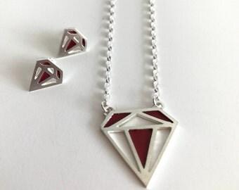 Sterling silver diamond set - pendant earrings jewelry set - Geometrical jewelry - silver diamond red enamel