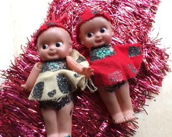 Somebody Got Crafty With The Glitter & Felt Vintage Celluloid Kewpies