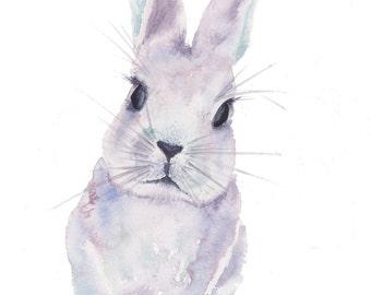 Rabbit watercolour fine art print 7 x 10 inches giclee nature animal lilac purple nursery wall art wall decor home decor