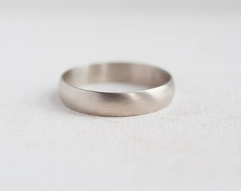 5 x 1 mm Half Round Band | Men's Wedding Ring | 14k Recycled White Gold