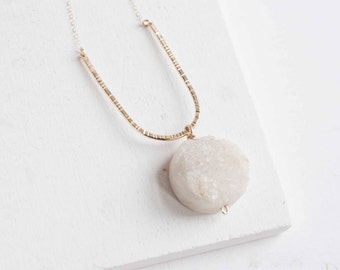 Druzy Textured Arc Necklace | 14k Gold Fill